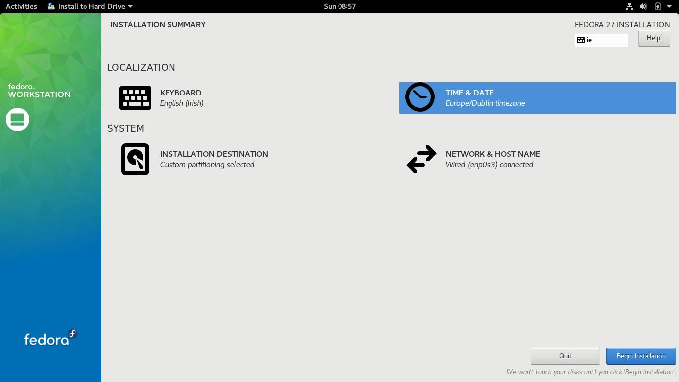 Install Fedora 27